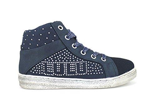 LULU' sneakers bambina con lacci e carniera blu camoscio / pelle AH236 (32 EU)