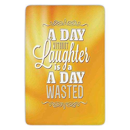 XIEXING Water Absorption Reactive Dyeing Durability Doormat Bathroom Bath Rug Kitchen Floor Mat Carpet,Quote,A Day Without Laughter is A Day Wasted Inspiration Be Happy Typographic Artwork,Yellow Whi