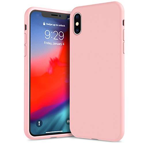Ivsun cover iphone xs max silicone, custodia protettiva completa anti-impronta resistente al graffio in silicone liquido da 6,5 pollici per iphone xs max - rosa