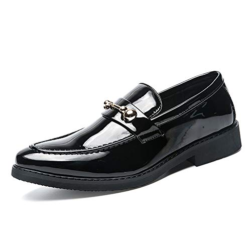 Apragaz Business Oxford Für Männer Gleiten Sie Auf Lederschuhen Mit Modischen Metallschnallen Breathable Patent Dress Work Round Toe Schuhe (Color : Gloss Black, Größe : 40 EU)