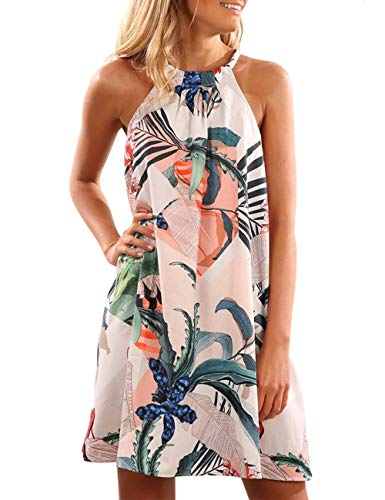 Print Beach Dress (SEBOWEL Women's Floral Print Sleeveless Summer Dress Swimwear Cover Up Backless Beach Dress A Line Mini Dresses, 2 Blue, XL)