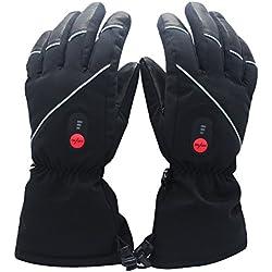 Savior Heated Gants Chauffants avec Batterie Rechargeable Li-ION pour Hommes et Femmes, Gants Chauffants pour Le Cyclisme Randonnée Moto Ski L'alpinisme, autonomie jusqu'à 2,5 à 6 Heures.(XXL)