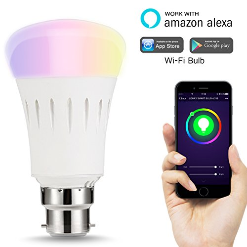LOHAS WIFI A60 Colour LED Smart Bulb, Works with Amazon Alexa, Colour Changing, Emit Any Hue in the Rainbow and Tuneable White Lights, 60W Equivalent, Controlled by a Smartphone, 1 Pack
