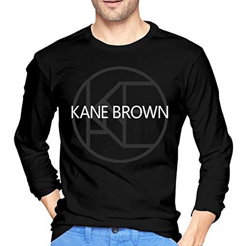 Männer Kane-Brown 1 Logo Print T-Shirt für Herren Tee T Shirt Langarm Tshirt mit Rundhalsausschnitt Kleidung Schwarz M -