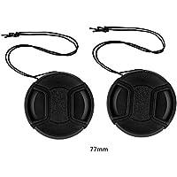 tinxi® Pack de 2 77mm tapa objetivo universal Lens Cap Protector de cámara frontal,