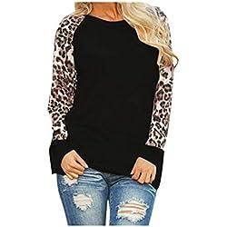 ¡Gran promoción!★Rovinci★ Mujeres Otoño Invierno Casual Cómoda Leopardo Blusa de Manga Larga Moda Señoras Camiseta de Gran tamaño Tops Plus Size