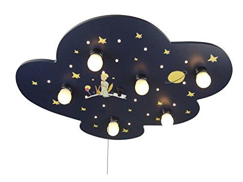 LED Kinder Deckenleuchte XXL, KLEINER PRINZ, AMAZON ECHO KOMPATIBEL, Zugschalter für LED-Schlummerlicht bringt den Sternenhimmel ins Kinderzimmer!