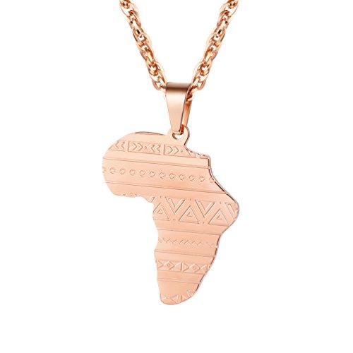 PROSTEEL Afrika Landkarte Anhänger Halskette Stammes Ethnisch Kettenanhänger mit 60cm Kette Roségold plattiert Hip Hop Männer Herren Schmuck, roségold (Kette Stamm)