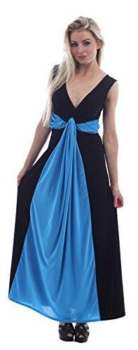 Chocolate Pickle ® Femmes Twist Knot Groupe grecque Boob longue Maxi robe de soirée Black-Turquoise