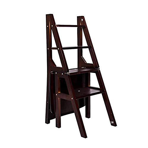 XB-ZDT Haushalts 4-Stufen-Trittleiter Aus Holz, Klappstuhl, Klappstuhl, Innenkletterleiter Für Die Küche, Lagerregal, Blumenständer - Farbe Nussbaum Schwarz