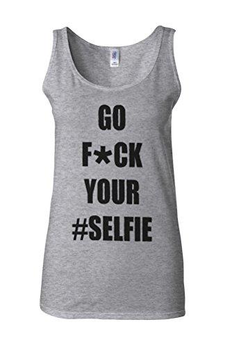 Go Fu*k Your Selfie Celfie Novelty White Femme Women Tricot de Corps Tank Top Vest Gris Sportif