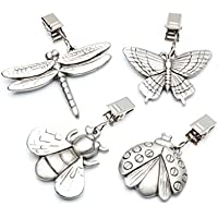 KitchenCraft Vintage-Style Heavy Pewter Tablecloth Weights with Clips - Assorted Insect Designs (Set of 4)