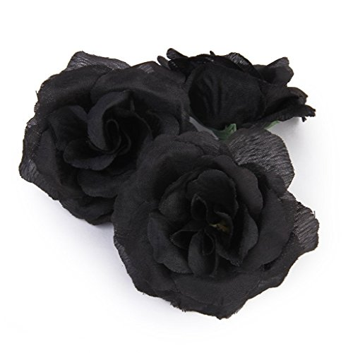 Miji 20 Stück künstliche Rose, Gefälschte Rosen für DIY Bouquets Hochzeit Babyparty Haus Decor Blütenköpfe 45mm Hochzeit Dekoration Schwarz