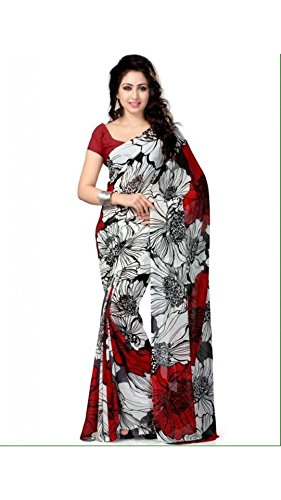 Vipul Women's Branded MULTI & RED Casual Wear Printed Georgette Saree ( Bollywood Designer Saree With Designer Blouse Best Gift For Mummy Mom Wife Girl Friend, Exclusive Offers and Sale Discount 2017 )  available at amazon for Rs.207