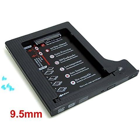 WINGONEER De cuatro canales SATA 2do HDD HD unidad de disco duro Caddy caso para 9.5mm universal del ordenador portátil de CD / DVD-ROM Soporte bahía óptica de 2.5