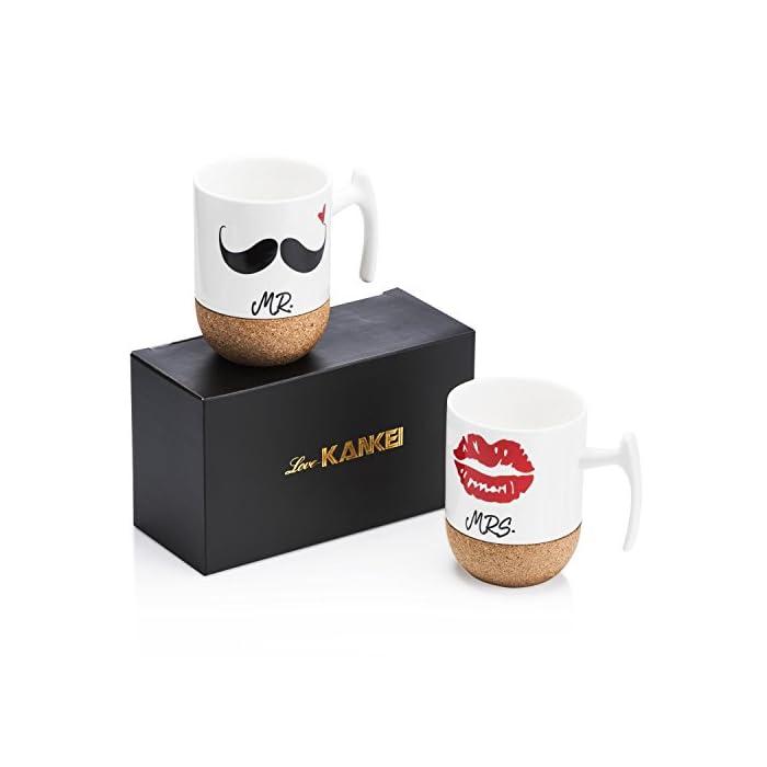 Love-KANKEI MR MRS Tassen Kaffeetassen Hochzeitsgeschenk Kaffeebecher Set Korkboden, Porzellan, 300ml, Ideales Geschenk Hochzeit, Jubiläum, Weihnachten, Ehepaar Freunde (MEHRWEG)