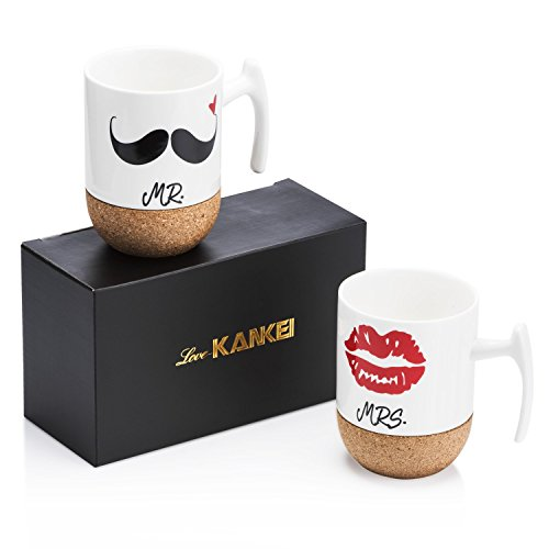 Love-KANKEI® MR & MRS Kaffeetassen Kaffeebecher Set mit Korkboden, Porzellan, 300ml, Ideales Geschenk für Hochzeit, Jubiläum und Weihnachten