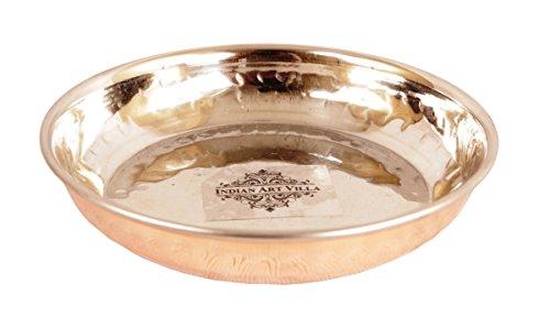 Indian Art Villa IndianArtVilla Handmade High Quality Steel Copper Pudding Rice Plate for use Dinner Restaurant Hotel Home Gift item