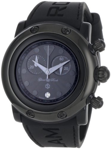 Glam Rock Unisex Miami Beach 46mm Black Silicone Band Polycarbonate Case Quartz Analog Watch GR62118
