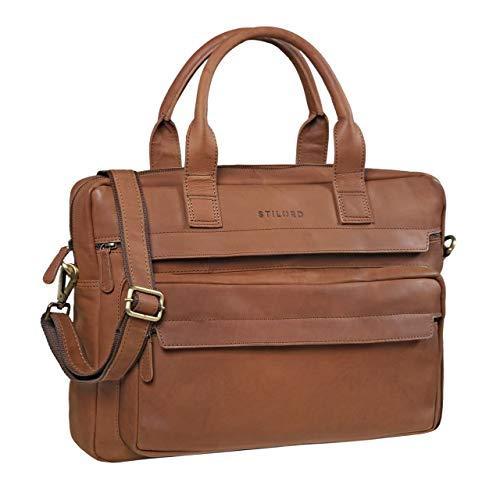 STILORD 'Lorin' Leder Umhängetasche Laptop 15,6 Zoll Große Ledertasche Vintage Herren Damen Business Aktentasche Arbeitstasche Laptoptasche Echtleder, Farbe:Sattel - braun -