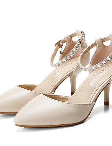 WSS 2016 Chaussures Femme-Décontracté-Noir / Blanc / Amande-Gros Talon-Talons-Chaussures à Talons-Polyuréthane white-us7.5 / eu38 / uk5.5 / cn38