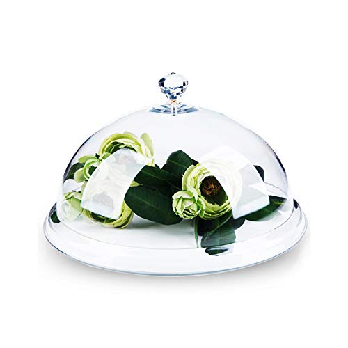 Kimmyer Bambus Cupcake Stand Glas Dome Cloche Deckel Kuchenhalter Dessert und Vorspeise Runde Mittelstück - perfekt für die Aufbewahrung Ihrer leckeren Kuchen und Speisen (Rustikale Cupcake Stand)