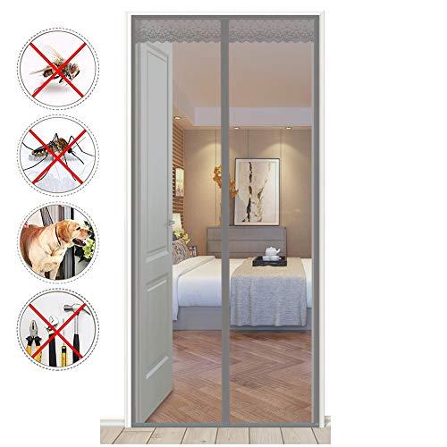 HEHEDA Fliegengitter tür ohne Bohren, Fliegenvorhang Magnetvorhang Tür für Wohnzimmer Schiebetür, Kinderleichte Klebemontage Ohne Bohren,Gray,90x230cm(35x91inch)