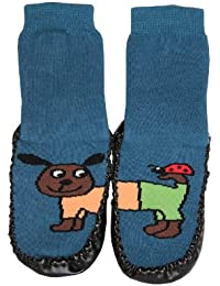 Tobeni - Zapatillas/calcetines con suela de piel, diseño de animales divertidos