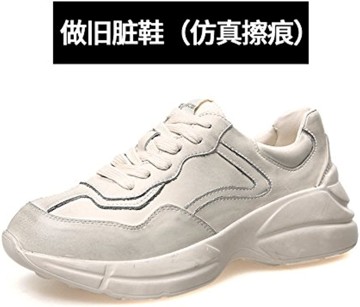 QQWWEERRTT Zapatos Blancos de Moda Zapatos de Mujer New Thick Bottom High End Vintage Sneakers Do Old Dirty Shoes... -
