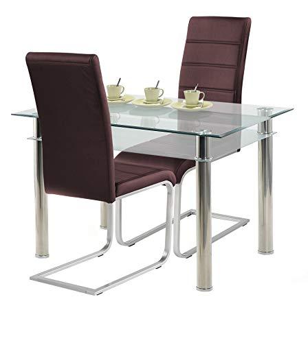 agionda ® Esstisch Kay Jake 120 x 80 mit Stuhlset Jan Piet ® 2er Satz hochwertiges PU Kunstleder in braun