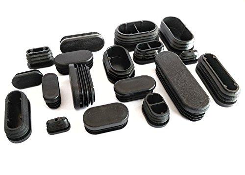 Ovale Endkappen aus Kunststoff. Einsätze für Tuben, Möbelfüße, Made in Germany (Schwarz, 50x20mm, 4 Stück) Bitte sehen Sie vor der Bestellung das 2. Bild