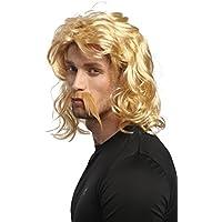 WIG ME UP ® - 91098-ZA06 Peluca y barba Carnaval Halloween rubio ondulado Galo Germano Bárbaro Celta Vikingo Normando