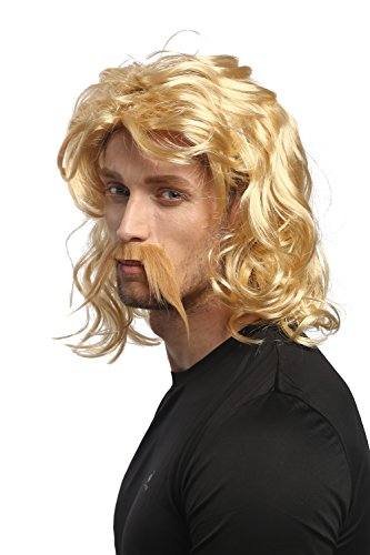 WIG ME UP - 91098-ZA06 Perücke & Bart Herren Karneval Halloween Blond wellig Gallier Germane Barbar Kelte Wikinger Normanne Barde