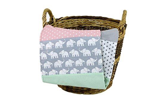 ULLENBOOM ® Babydecke Elefant Mint Rosa (70x100 cm Baby Kuscheldecke, ideal als Kinderwagendecke, Spieldecke geeignet, Motiv: Punkte, Sterne)