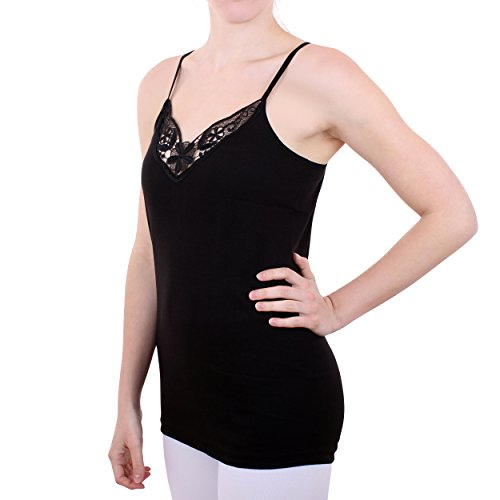 2er Pack Damen Hemd mit Spitze mit Spaghettiträger Nr. 356 Feinripp - Sehr gute Qualität ( Rot/Schwarz / 56/58 ) - 3