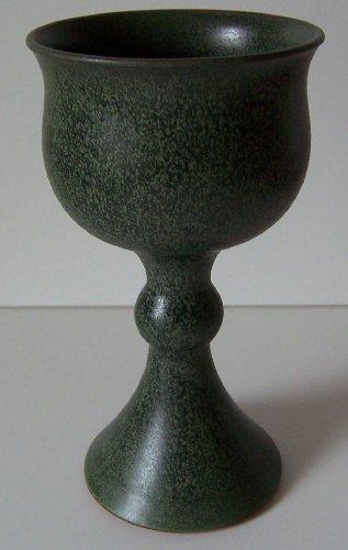 Töpferei Annett Fischer WK3 Weinkelch Keramik Weinkelch grün handgetöpfert Höhe 17 cm