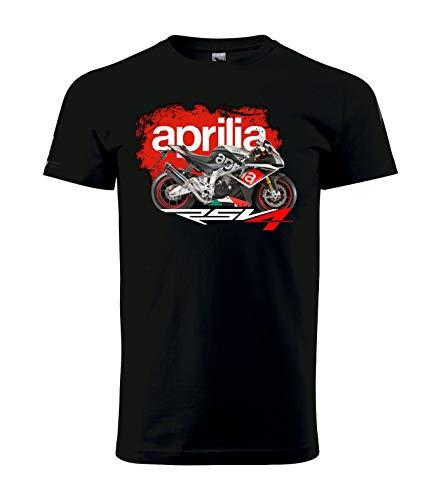 Aprilia Rsv4 Mens T-Shirt Motorrad Biker Black Shirt Cotton Short Sleeves Funny Print Tee - Double Dry Short Sleeve Tee