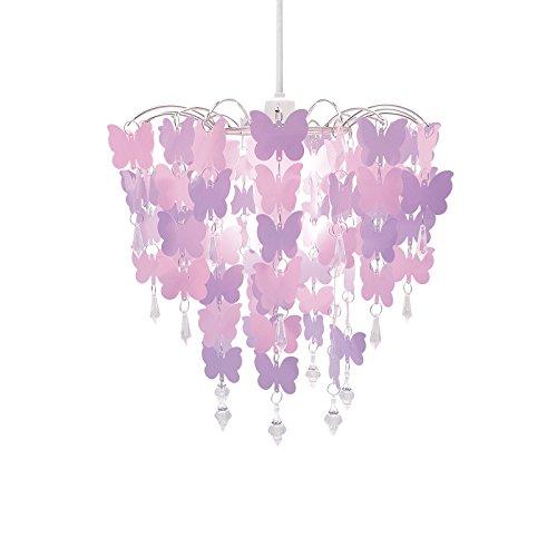 Kids chandelier amazon easy fit universal pink butterflies light decoration ceiling lamp chandelier pendant aloadofball Choice Image