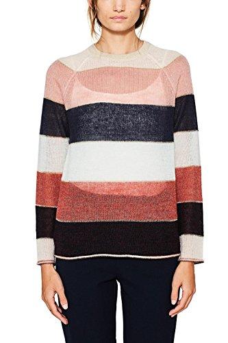 Gestreifter Strick-pullover (edc by ESPRIT Damen Pullover 087CC1I045, Mehrfarbig (Light Beige 290), Small)