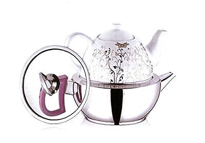 tunasm Art–Théières Kit pour thé, acier inoxydable et porcelaine Turc, capacité totale 3,1L