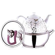 tunasm tipo–Juego de tetera para té turco, acero inoxidable y porcelana, total capacidad 3,1L)