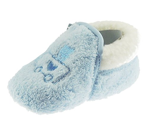 Beautifully Soft Baby Girl Boy Embroidered Warm Fluffy Zip Up Slippers