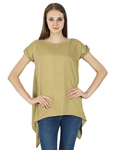 Summer Casual Tunique Manches Courtes Sundress Vêtements Top Beige