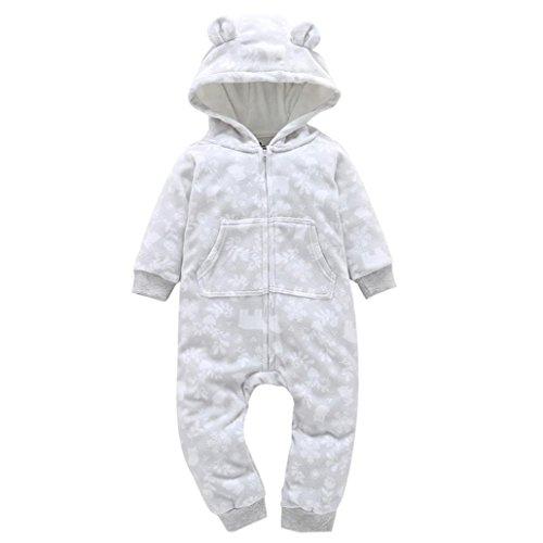 (mingfa. Y _ Baby Kleidung Ausverkauf. Weihnachten Baby Jungen Mädchen mit Kapuze lange Ärmel Overall Strampler dicker Schneeflocke bedruckt Reißverschluss Infant Kleinkind Home Kleidung, Kinder, weiß, 9 m)
