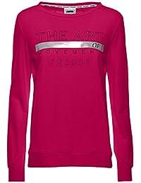 565abb680261 FREDDY Sweat-Shirt avec Fentes latérales à la Taille et imprimé argenté à  Paillettes