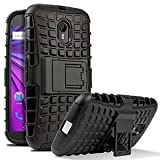 BRK Defender Tough Hybrid Armour Shockproof Hard PC + TPU with Kick Stand Rugged Back Case Cover For Motorola Moto G4 Play (Black) Amazon