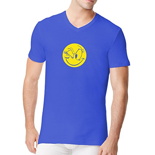 Fun Sprüche Männer V-Neck Shirt - Zwinkerndes Comic Smiley by Im-Shirt Royal