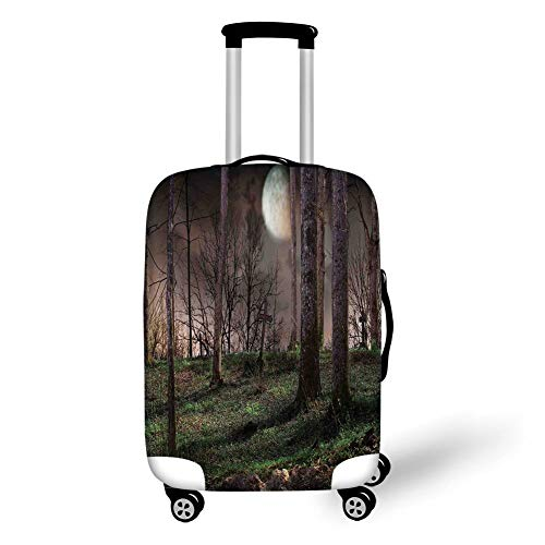 Travel Luggage Cover Suitcase Protector,Gothic,Dark Night in The Forest with Full Moon Horror Theme Grunge Style Halloween,Brown Green Yellow,for TravelXL 29.9x39.7Inch