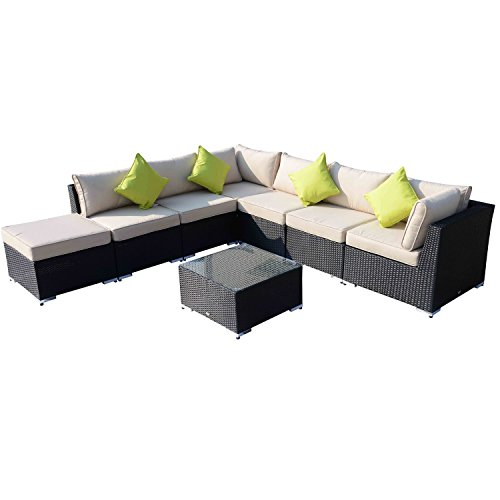 Outsunny Rattansofa für den Garten Aluminium Outdoor Terrasse Set Rattan Sofa-Set-Sitzer schwarz Fire beständig Schwamm + Tisch Kissen bereits montiert