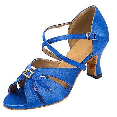 Silence @ satiné Femme Latin/salle de bal Chaussures de danse Salsa Sandales Strass Talon Professional/intérieur noir/bleu noir
